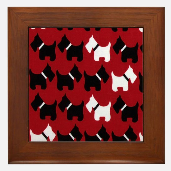 Scottie Dogs Red Framed Tile