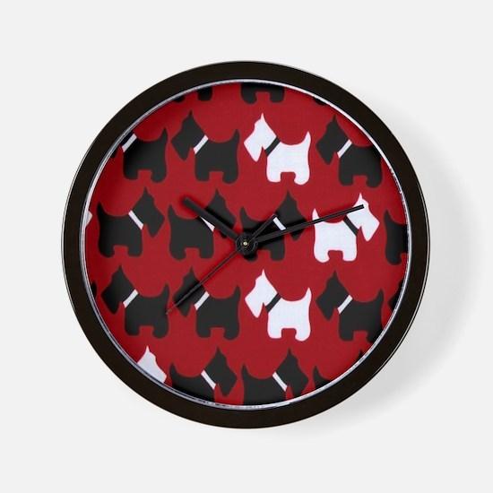 Scottie Dogs Red Wall Clock