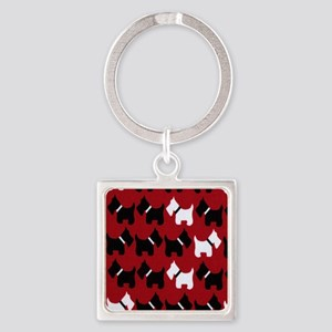 Scottie Dogs Red Square Keychain