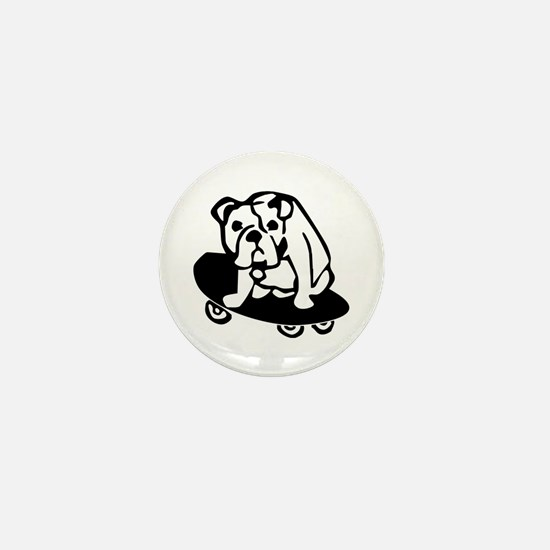 Skateboarding Bulldog Mini Button