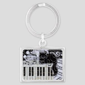 keyboard-sitting-cat-horiz Landscape Keychain