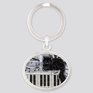 keyboard-sitting-cat-horiz Oval Keychain