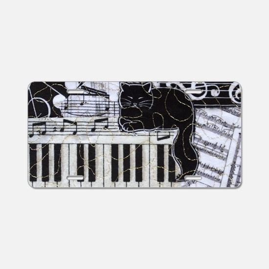 keyboard-sitting-cat-horiz Aluminum License Plate