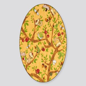Squirrels Up a Tree Sticker (Oval)