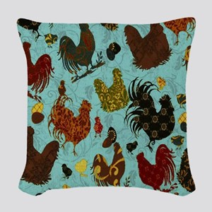 Tossed Chickens Woven Throw Pillow