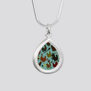 Tossed Chickens Silver Teardrop Necklace