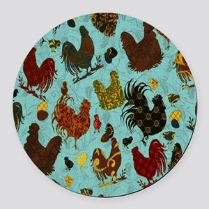 Tossed Chickens Round Car Magnet