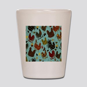 Tossed Chickens Shot Glass