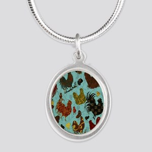 Tossed Chickens Silver Oval Necklace