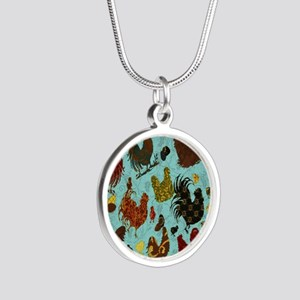 Tossed Chickens Silver Round Necklace