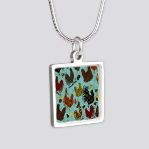 Tossed Chickens Silver Square Necklace