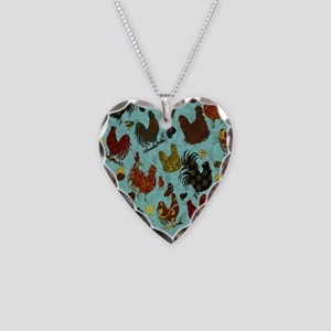 Tossed Chickens Necklace Heart Charm
