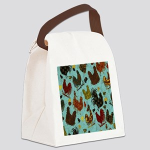 Tossed Chickens Canvas Lunch Bag