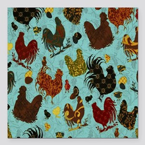 "Tossed Chickens Square Car Magnet 3"" x 3"""
