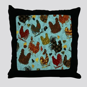 Tossed Chickens Throw Pillow
