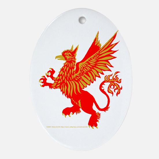 Gryphon Red Gold Oval Ornament