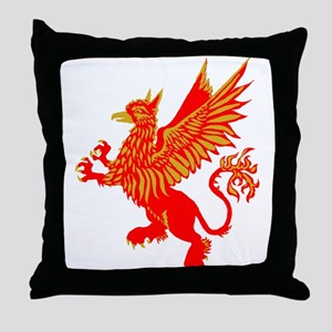 Gryphon Red Gold Throw Pillow