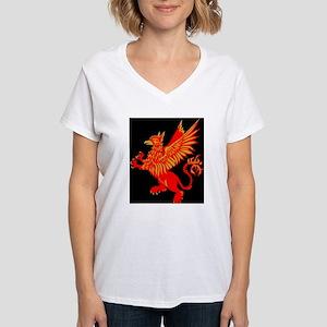 Gryphon Red Gold Women's V-Neck T-Shirt