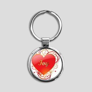 Ivy-Valentines Round Keychain