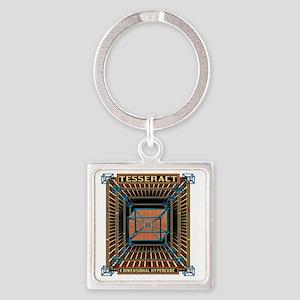 TESSERACT_HYPERCUBE_c Square Keychain