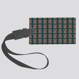 LittleColorOwlpatternhzntl Large Luggage Tag
