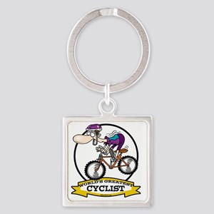 WORLDS GREATEST CYCLIST MEN CARTOO Square Keychain