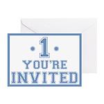 Blue #1 Birthday Invitations (6)