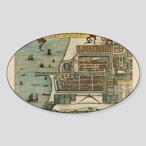 Laptop Skin - Vintage Map of Jakart Sticker (Oval)