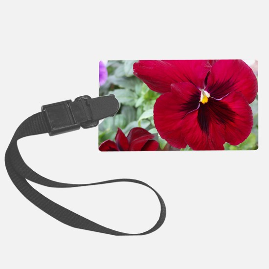 Perfect Red Pansy flower Large Luggage Tag