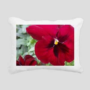Perfect Red Pansy flower Rectangular Canvas Pillow