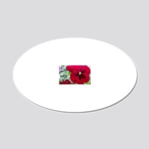 Perfect Red Pansy flower 20x12 Oval Wall Decal