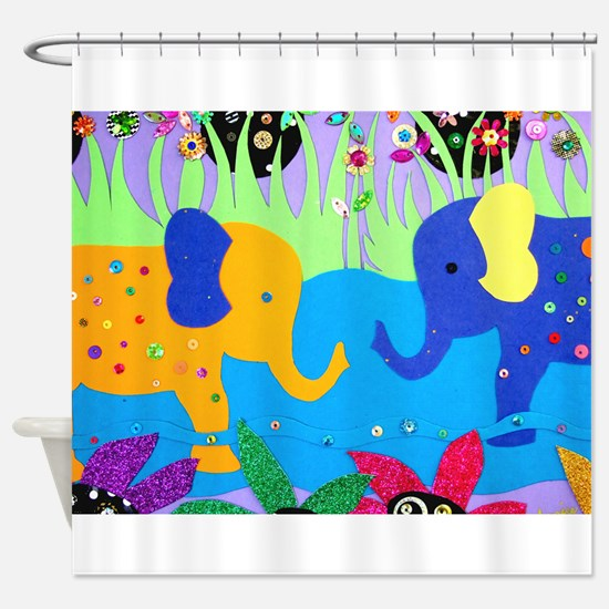 Colorful Elephants at Waterhole Shower Curtain