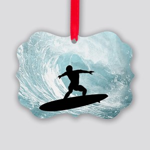 Sport, surfboarder with wave Ornament