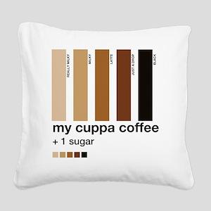 my-cuppa-coffee-1-sugar Square Canvas Pillow