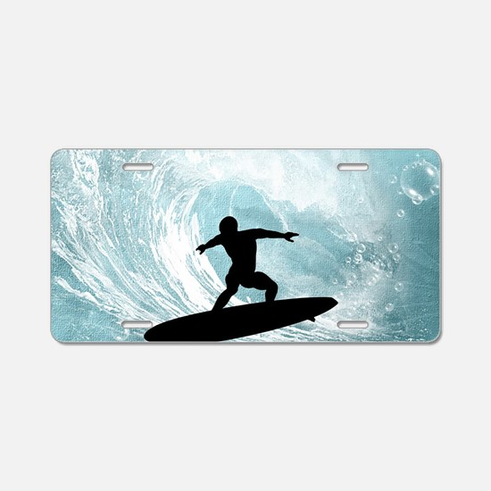 Sport, surfboarder with wave Aluminum License Plat