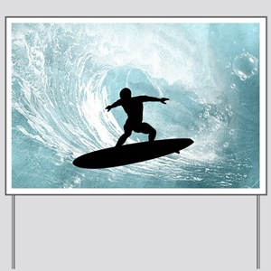Sport, surfboarder with wave Yard Sign