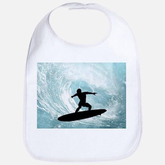 Sport, surfboarder with wave Baby Bib