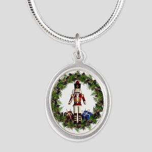 Red Nutcracker Wreath Silver Oval Necklaces