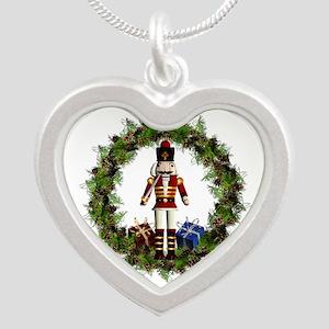 Red Nutcracker Wreath Silver Pendant Necklaces