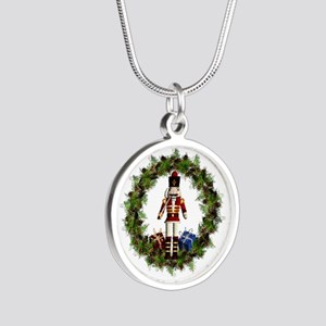 Red Nutcracker Wreath Circle Pendant Necklaces