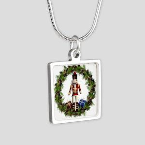 Red Nutcracker Wreath Silver Square Necklace