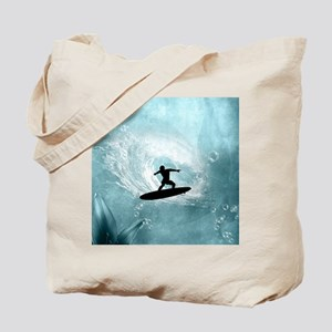 Sport, surfboarder with wave Tote Bag