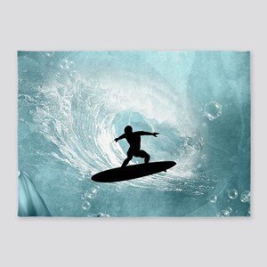 Sport, surfboarder with wave 5'x7'Area Rug
