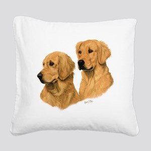 Golden Dark Square Canvas Pillow
