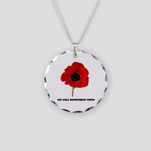 POPPY - WE WILL REMEMBER THE Necklace Circle Charm
