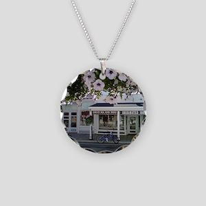 Mackinaw Purple Flowers HUGE Necklace Circle Charm