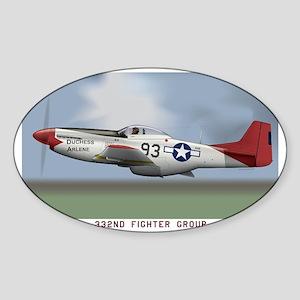 P51D_redtail Sticker (Oval)