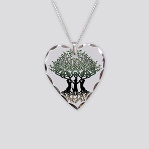 Ferret Tree of Life 2 Necklace Heart Charm
