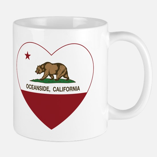 california flag oceanside heart Mugs