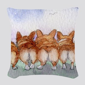 Five walk away together wider Woven Throw Pillow